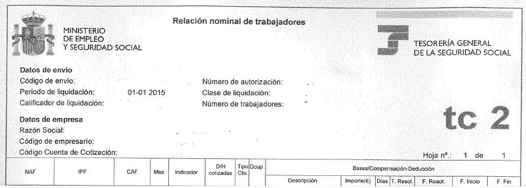 Encabezado de un formulario TC2 de la seguridad social (SS.SS)española 2015