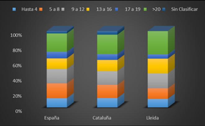 Empresas concursadas según su antigüedad. España, Cataluña y Provincia de Lleida. Periodo 2012-2014.