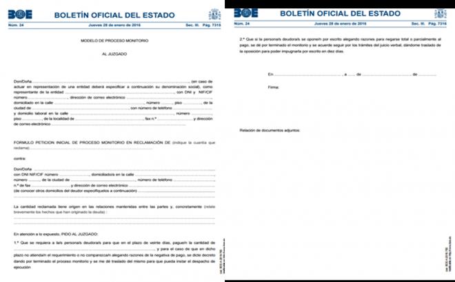 formulario del proceso monitorio